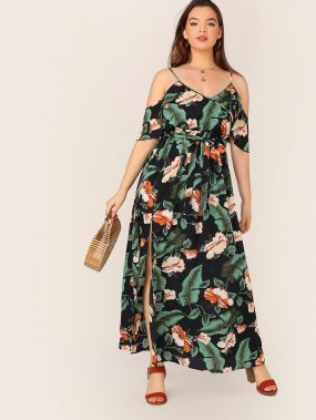 Тропическое платье размера плюс с открытыми плечами и поясом