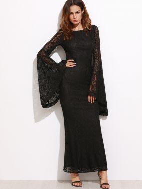 Чёрное кружевное модное платье. рукав клеш