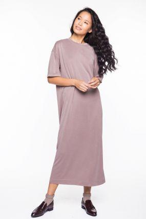 Платье-футболка Черешня какао из модала (40-46)