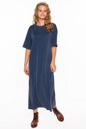Платье-футболка Черешня светло-синяя из модала (40-46)