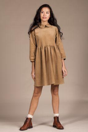 Платье Черешня из вельвета кэмэл с воротничком (40-46)
