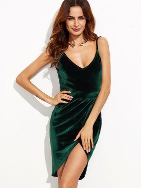 Тёмно-зелёное модное платье с запахом с рюшами с открытой спиной