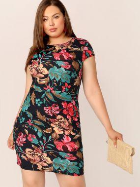 Приталенное платье с цветочным принтом размера плюс