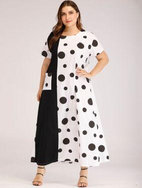 Длинное платье в горошек размера плюс с карманом