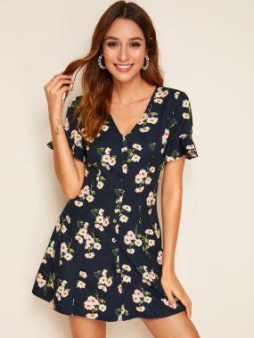 Одноботное платье с цветочным принтом