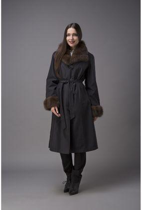 Женское зимнее пальто с меховым воротником из куницы Garioldi