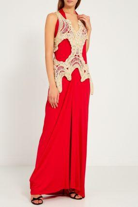 Красное платье с ажурным жилетом