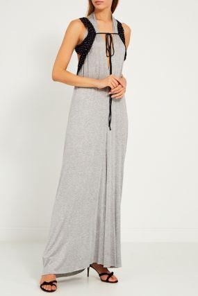 Серое платье с плетеным болеро