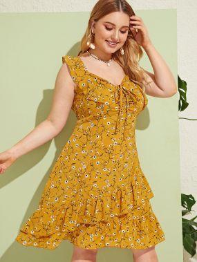Цветочное платье с многослойными оборками размера плюс