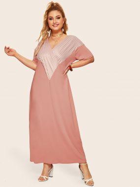 Полосатое длинное платье размера плюс с v-образным вырезом