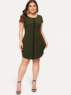 Размера плюс контрастное платье с рельефными узорами