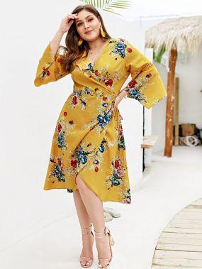 Размера плюс асимметричное платье с цветочным принтом