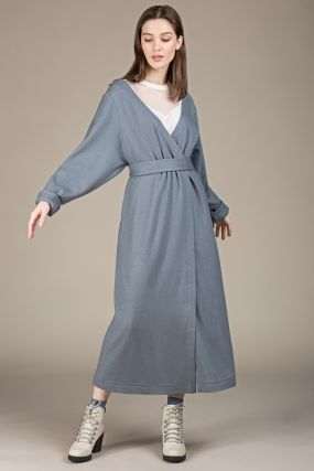 Платье-кардиган Черешня шерстяное с открытыми плечами на запахе серо-голубое (42-46)