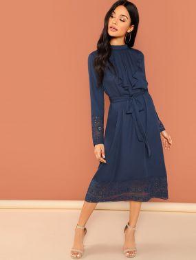 Платье Миди С Бантом Поясом И Кружевное Отделкой