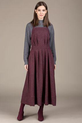 Сарафан Черешня меланж из шерсти на лямке с завязками на спине малинового цвета (42-46)