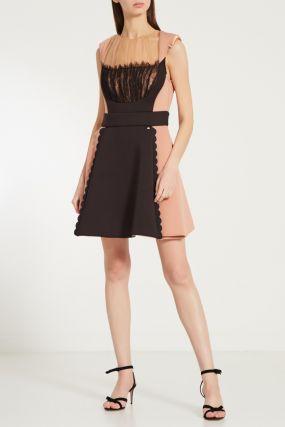 Комбинированное платье с прозрачными вставками