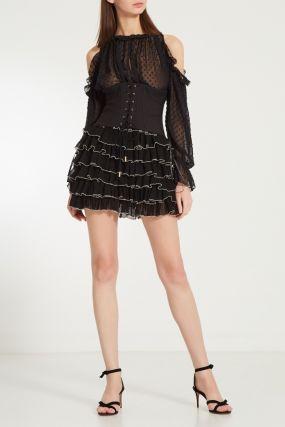 Черное платье с корсетным поясом