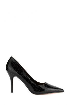 Черные лаковые туфли из кожи рептилии