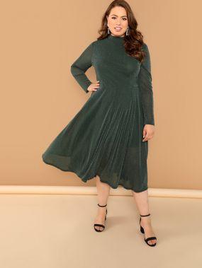 Плюс размеры блестящее платье с ложным вырезом