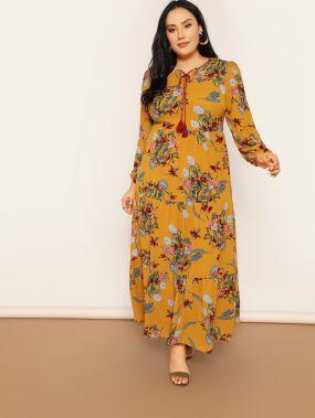 Размер плюс платье с цветочным принтом и бахромой и оборкой