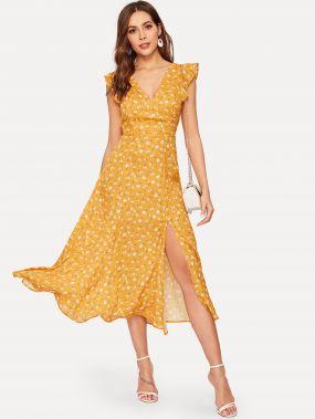 Платье из шифона с разрезом и цветочным принтом