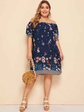 Размер плюс платье с цветочным принтом и открытым плечом