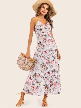 Платье на бретелях с цветочным принтом и вырезом