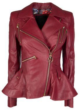 Кожаная куртка с баской Elegant