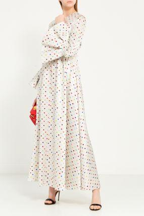 Платье-макси в разноцветный горох