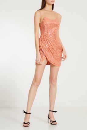 Фактурное мини-платье с драпировкой