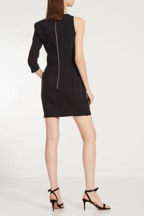 Черное мини-платье с одним рукавом