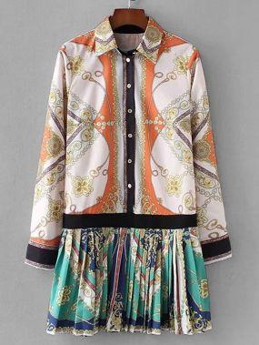 Платье-рубашка с рисунком барокко