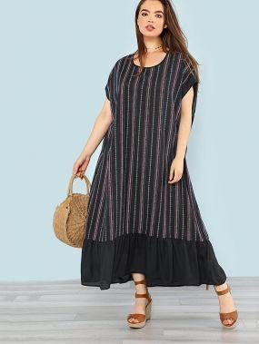 Размер плюс длинное платье в полоску с оборками