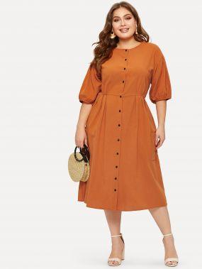 Размера плюс платье-рубашка с карманом и пуговицами