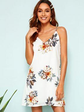 Платье-комюинация с цветочным принтом