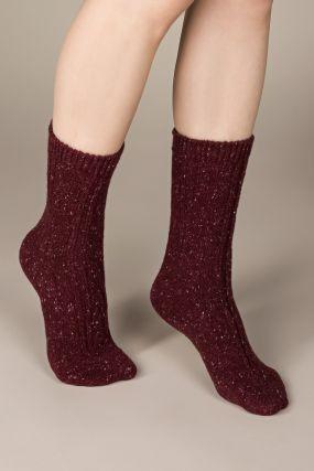 Носки KSOX шерстяные в крапинку с косичками бордового цвета (One Size)