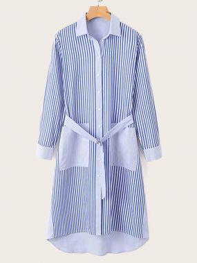 Асимметричное полосатое платье-рубашка с поясом