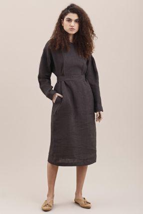 Платье Черешня коричневое льняное с эффектом запаха на груди (Washed out) (38-42)