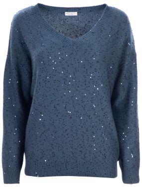 Кашемировый пуловер с пайетками