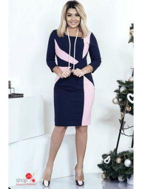 Платье Irina Foksy, цвет синий, светло-розовый