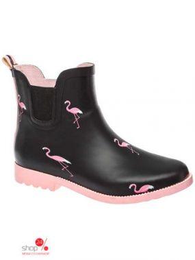 Полусапоги резиновые KEDDO, цвет черный, розовый