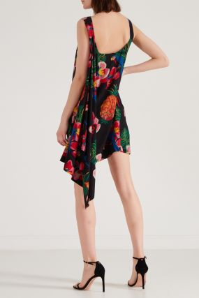 Шелковое платье с тропическим принтом