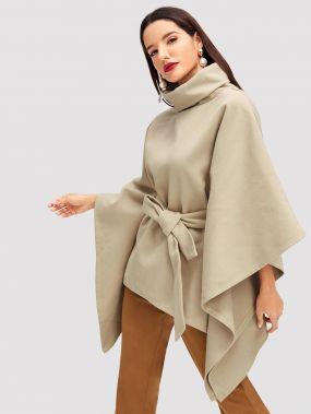 Пончо пальто с высоким вырезом с поясом