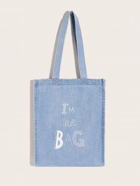Джинсовая сумка-тоут с текстовым принтом