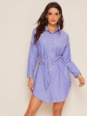 Полосатое платье-рубашка с поясом