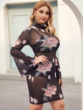 Прозрачное облегающее платье размера плюс с цветочным принтом