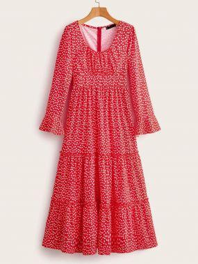 Платье с молнией и цветочным принтом