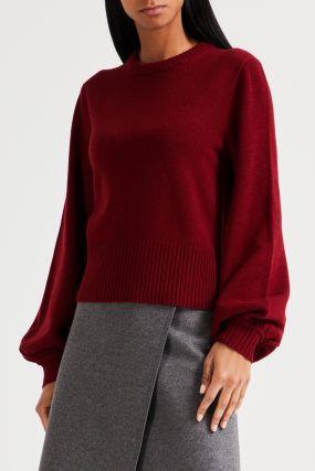 Бордовый свитер с широкой резинкой