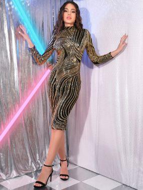 Блестящее платье-карандаш с разрезом и воротником-стойкой