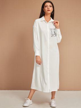Платье-рубашка с блестками и карманом